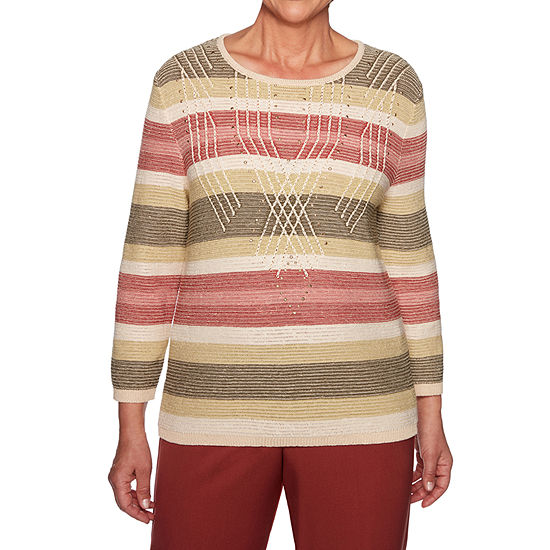 Alfred Dunner Cedar Canyon Womens Crew Neck 3/4 Sleeve Pullover Sweater
