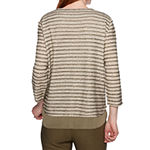 Alfred Dunner Cedar Canyon Womens Round Neck 3/4 Sleeve Layered Top