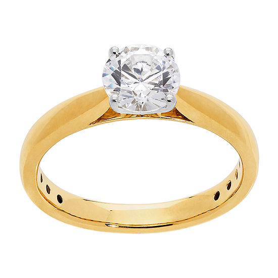 Grown With Love Womens 1 CT. T.W. Lab Grown White Diamond 14K Two Tone Gold Solitaire Engagement Ring