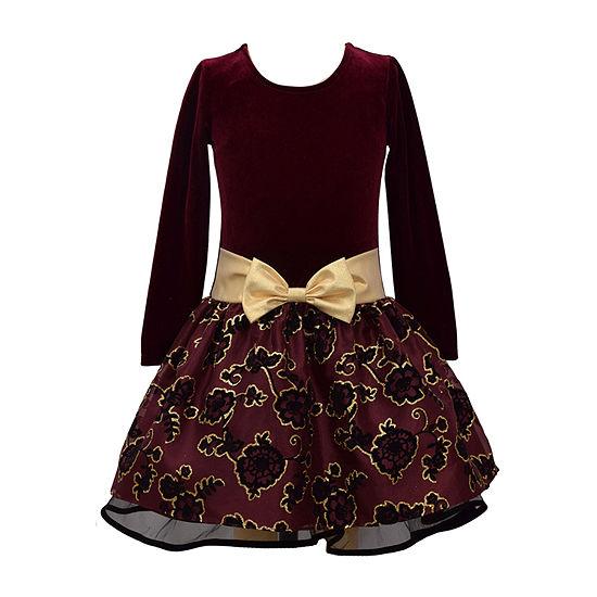 Bonnie Jean Girls Long Sleeve Drop Waist Dress - Preschool / Big Kid
