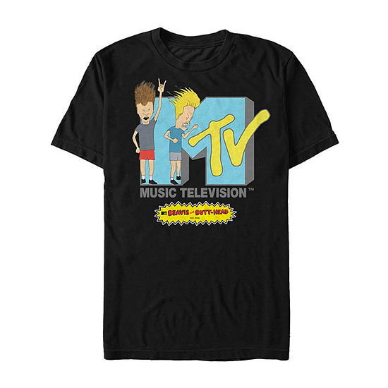 Bang Your Head Logo Mens Crew Neck Short Sleeve Beavis and Butt-Head Graphic T-Shirt