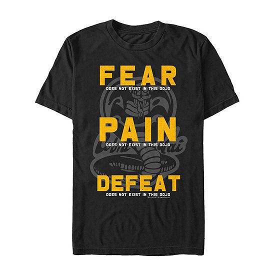 Cobra Kai Fear Pain Defeat Mens Crew Neck Short Sleeve Graphic T-Shirt