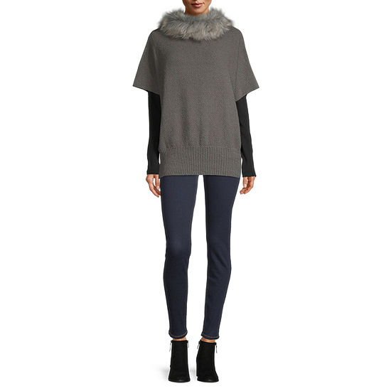 Mixit Fur Collar Poncho Cold Weather Wrap