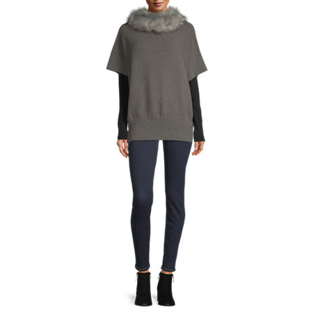 Mixit Fur Collar Poncho, One Size , Gray