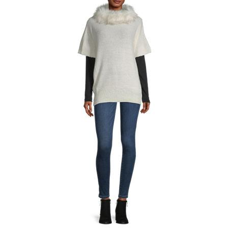 Mixit Fur Collar Poncho, One Size , White