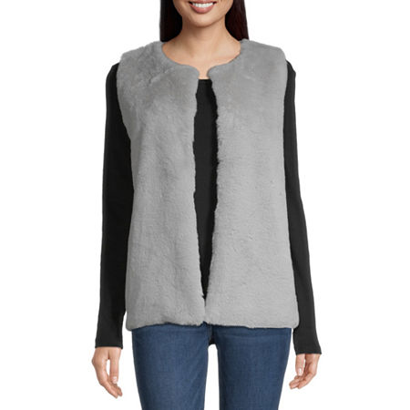 Mixit Faux Fur Womens Round Neck Sleeveless Vest, Small-medium , Gray