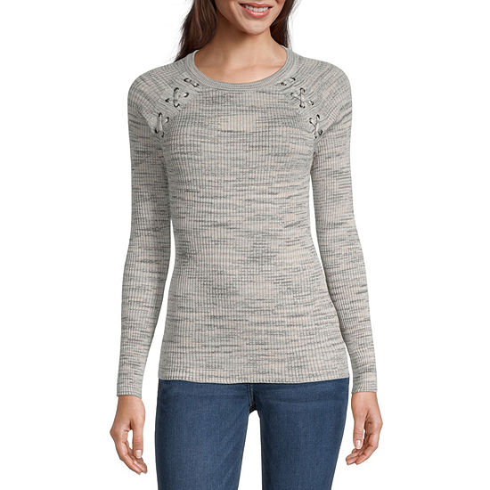 by&by-Juniors Womens Round Neck Long Sleeve Tie-dye Pullover Sweater