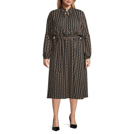 Vintage Style Dresses | Vintage Inspired Dresses Worthington Womens Tie Neck Fit  Flare Dress - Plus 2x  Black $31.59 AT vintagedancer.com