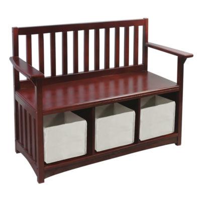 Guidecraft Classic Espresso Storage Bench with Bins