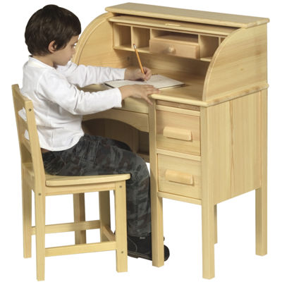 Guidecraft Jr. Roll-Top Desk & Chair - Light Oak