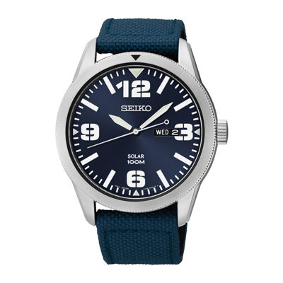 Seiko® Mens Blue Nylon Strap Solar Watch SNE329
