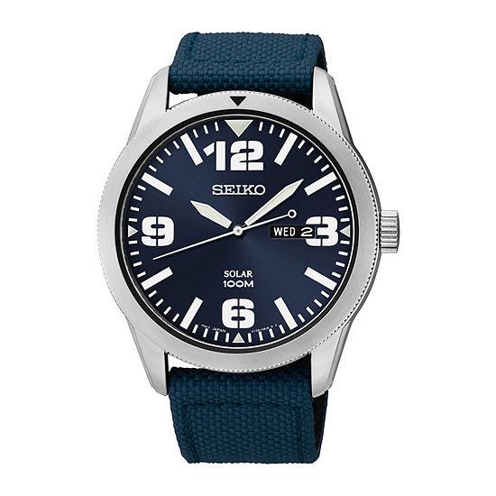 Seiko® Mens Blue Nylon Strap Solar Watch SNE329