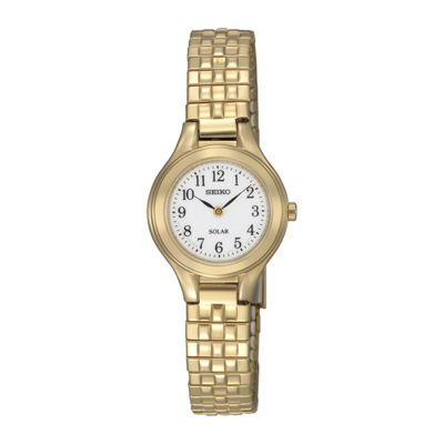 Seiko® Womens Gold-Tone Stainless Steel Solar Bracelet Watch SUP102