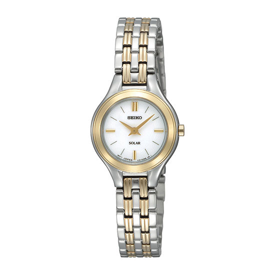 Seiko® Womens Two-Tone Stainless Steel Solar Bracelet Watch SUP210