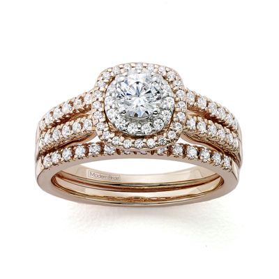 Modern Bride® Signature 1 CT. T.W. Certified Diamond 14K Rose Gold Bridal Ring Set