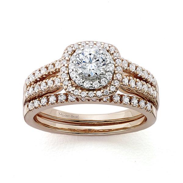 T W Certified Diamond 14k Rose Gold Bridal Ring Set