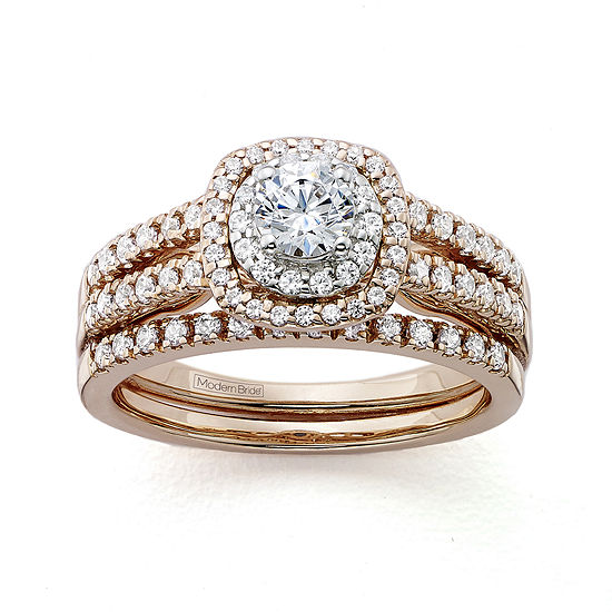 Modern Bride® Signature 1 CT. T.W. Certified  Genuine Diamond 14K Rose Gold Bridal Ring Set