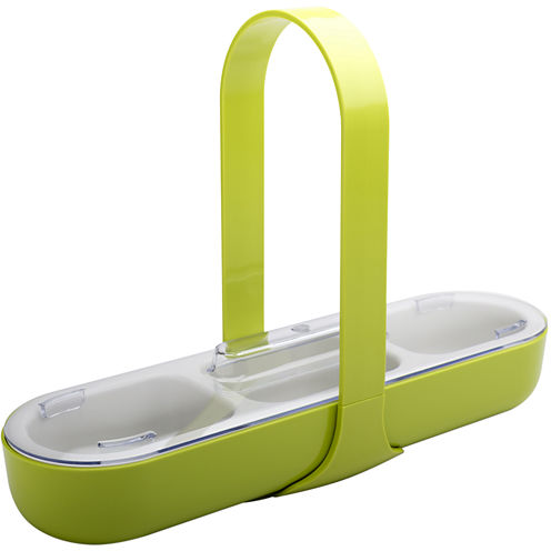 Zak Designs® 3-Section Serving Caddy with Handle & Lid