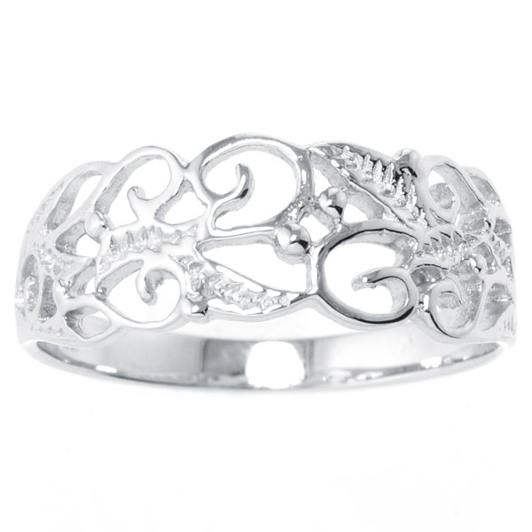Silver Treasures Womens Sterling Silver Filigree Vine Ring