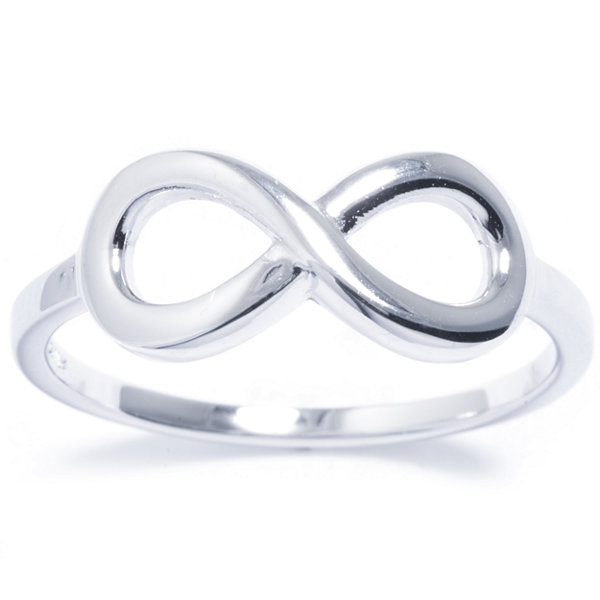 Silver Treasures Womens Sterling Silver Infinity Ring