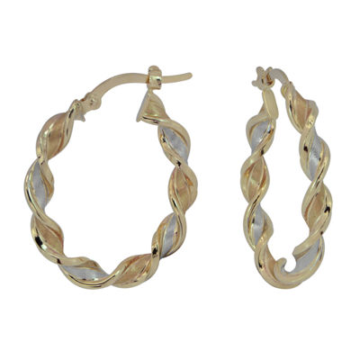 Tri Color 14K Gold Twisted Ribbon Hoop Earrings