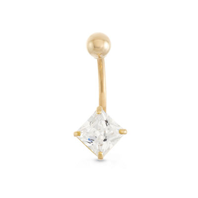 10K Yellow Gold Cubic Zirconia Square Belly Ring