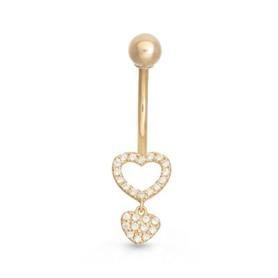 10K Yellow Gold Cubic Zirconia Heat Drop Belly Ring