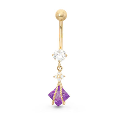 10K Yellow Gold Purple And White Cubic Zirconia Dangle Belly Ring