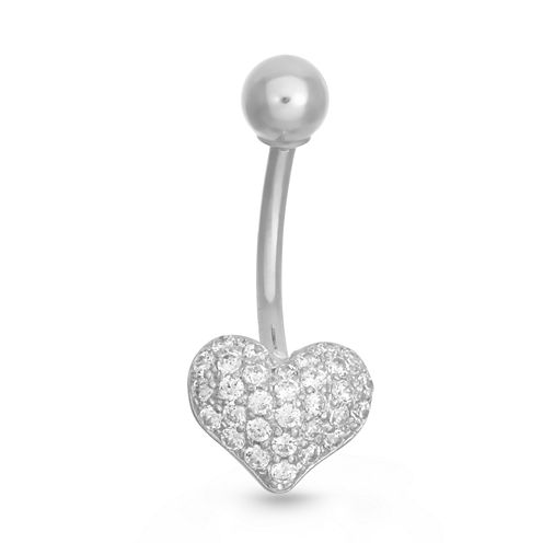 10K White Gold Cubic Zirconia Pave Heart Belly Ring