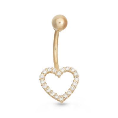 10K Yellow Gold Cubic Zirconia Pave Open Heart Belly Ring