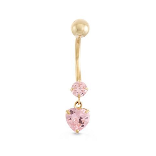 10K Yellow Gold Pink Cubic Zirconia Heart Drop Belly Ring
