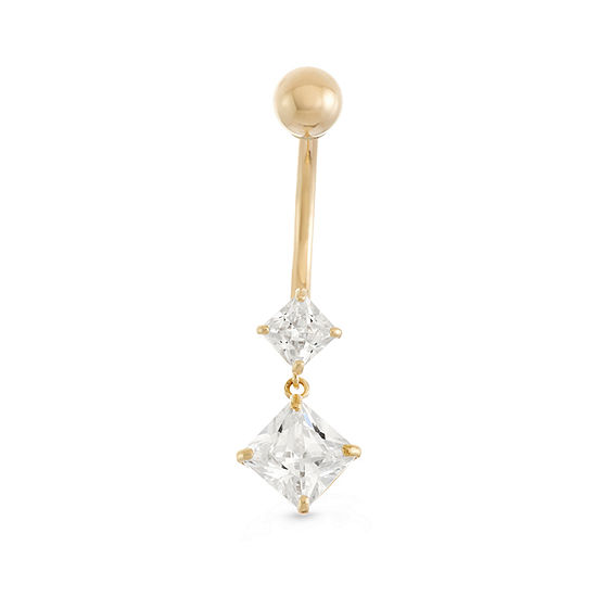10K Yellow Gold Cubic Zirconia Square Drop Belly Ring