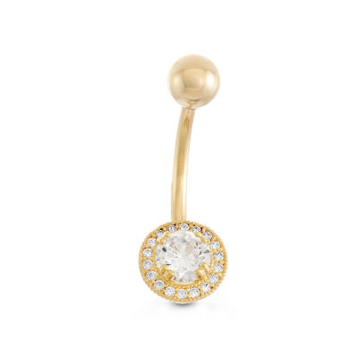 10K Yellow Gold Cubic Zirconia Round Framed Belly Ring