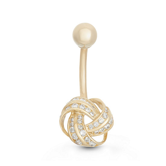 10K Yellow Gold Cubic Zirconia Knot Belly Ring