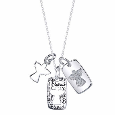 Inspired Moments Womens Lab Created White Cubic Zirconia Sterling Silver Pendant Necklace