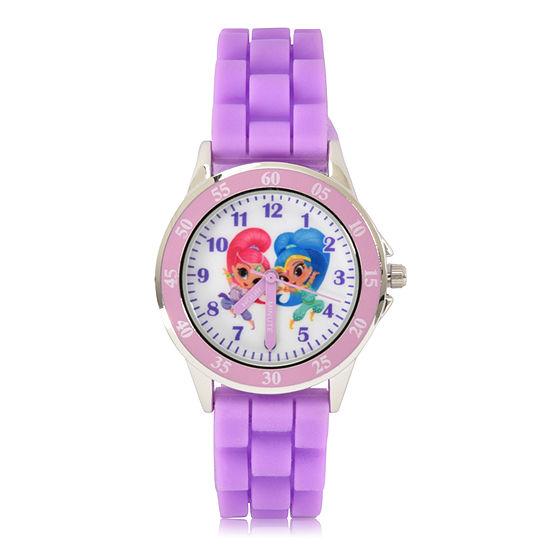 Shimmer And Shine Girls Digital Purple Strap Watch-Sns9007jc