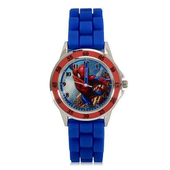 Marvel Spiderman Boys Blue Strap Watch-Spd9048jc