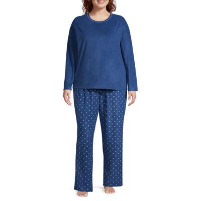 Adonna Crew Neck Waffle Pajama Set- Plus