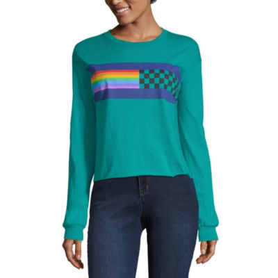 Long Sleeve Round Neck Graphic T-Shirt-Juniors