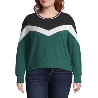 Chevron Colorblock Sweatshirt - Juniors Plus