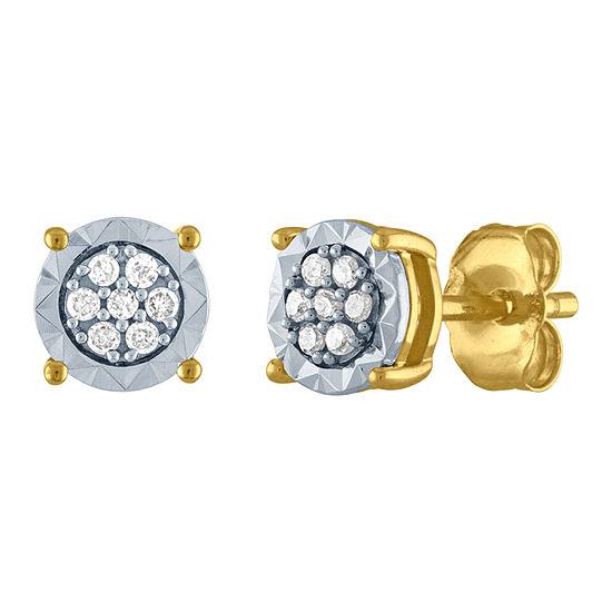 1/10 CT. T.W. Genuine White Diamond 10K Gold 5.5mm Stud Earrings