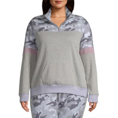 Flirtitude Womens Mock Neck Long Sleeve Quarter-Zip Pullover Juniors Plus