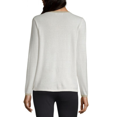 Liz Claiborne Womens Scoop Neck Long Sleeve Pullover Sweater