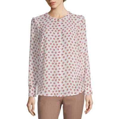 Liz Claiborne Long Sleeve Button-Front Shirt