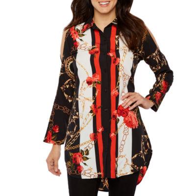 Bold Elements Womens Collar Neck Long Sleeve Woven Blouse