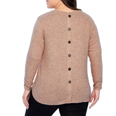 Alyx Long Sleeve Button Back Knit Blouse - Plus