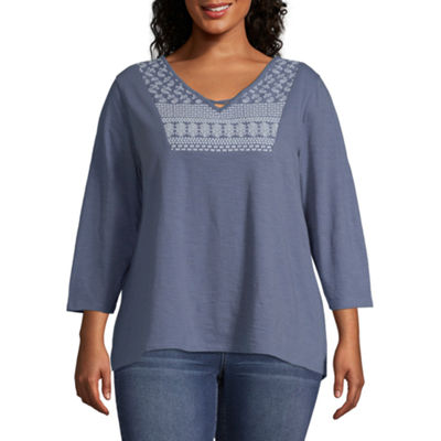 St. John's Bay Criss Cross Embroidered Tee - Plus
