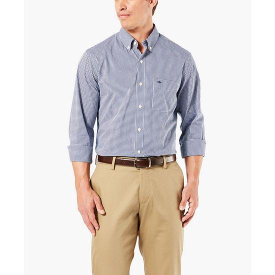 Dockers  Herren Collar Neck Long Sleeve Gingham Button Button Button Front Shirt ... 4965cd