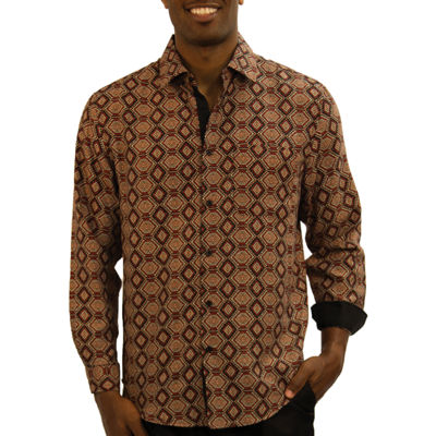 Steve Harvey Long Sleeve Pattern Button-Front Shirt-Big and Tall