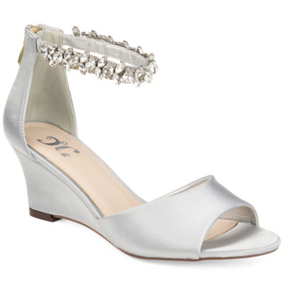 Journee Collection Womens Jc Connor Pumps Zip Open Toe Wedge Heel